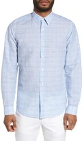 Theory Men's Sylvain Dashed Trim Fit Linen Blend Sport Shirt