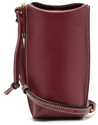 Loewe Gate Pocket Leather Cross-body Bag - Womens - Burgundy