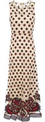 RED Valentino Embroidered Point D'esprit Midi Dress