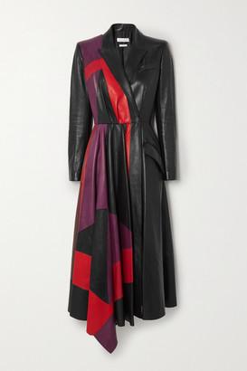 Alexander McQueen Asymmetric Color-block Leather Coat - Black