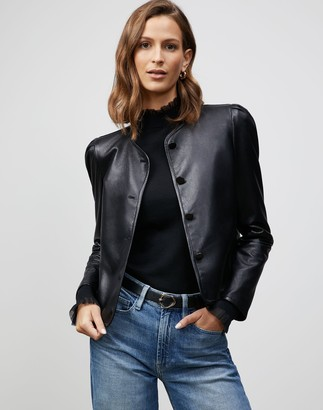 Lafayette 148 New York Petite Supple Nappa Leather Scarlet Jacket