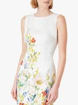 Hobbs Fiona Floral Print Mini Dress, Ivory/Multi