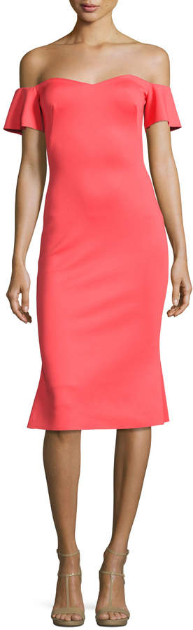 Black Halo Xochi Off-the-Shoulder Cocktail Dress, Canyon Coral