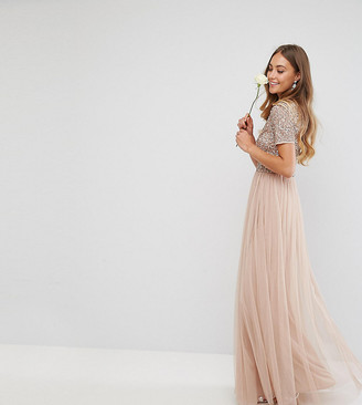 Maya Tall Bridesmaid v neck maxi tulle dress with tonal delicate sequins-Brown