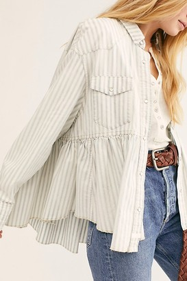We The Free Dylan Babydoll Railroad Stripe Top