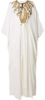 Marchesa Belted Embellished Silk Gown - Ivory