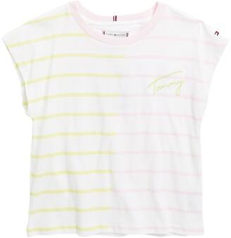 Two-Tone Stripe Print T-Shirt