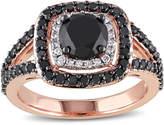 MODERN BRIDE Midnight Black Diamond 2 CT. T.W. White and Color-Enhanced Black Diamond 14K Rose Gold Ring