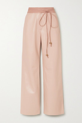 Nanushka Chimo Belted Vegan Leather Wide-leg Pants