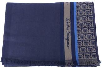 Salvatore Ferragamo Blue Wool & Silk Scarf With Gancini Print