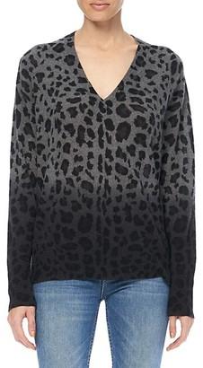 360 Cashmere Lou Dip-Dye Leopard Print Cashmere Sweater