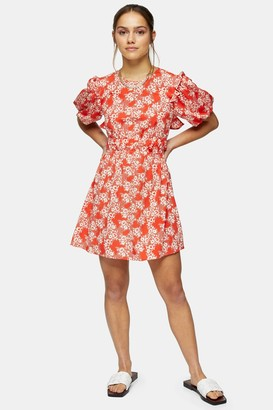 Topshop Womens Petite Red Floral Print Puff Sleeve Mini Dress - Red