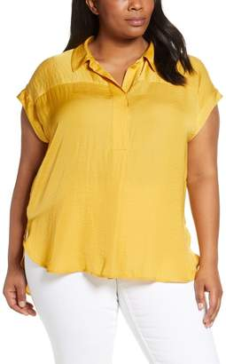 Vince Camuto Collared Rumple Henley Blouse (Plus Size)