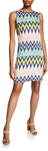 M Missoni Zigzag Jewel-Neck Sleeveless Shift Dress