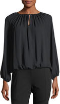 Vince Camuto Long-Sleeve Shirred-Neck Peasant Top