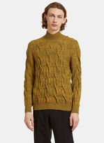Missoni Cable Knit Roll Neck Sweater In Yellow