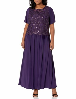 Le Bos Women's Plus Size Embellished Sequins Flared Sleeve Long Dress