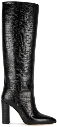 Paris Texas 100 Crocodile-effect Leather Knee-high Boots