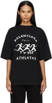 Balenciaga Black and White Marathon XL Fit T-Shirt