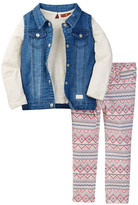 7 For All Mankind Denim Vest, Top, & Jean Set (Toddler Girls)