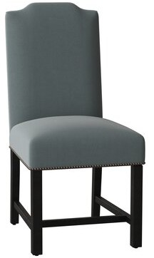 Sloane Whitney Harrison Upholstered Parsons Chair Body Fabric: Angela Cloud, Leg Color: Black Matte, Nailhead Detail: Bronze Black