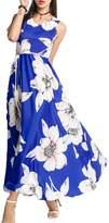 Peab Kancystore Women Summmer Beach Dress Sleeveless Floral Print Long Maxi Swing Dress (M, )
