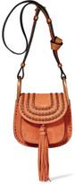 Chloé Hudson Mini Whipstitched Suede Shoulder Bag - Light brown