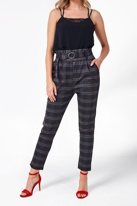 Mae Iclothing iClothing Paperbag Waist Trousers in Grey Check