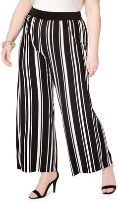 INC International Concepts Plus Striped Wide-Leg Pants