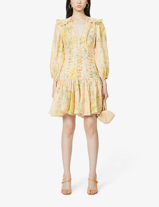Zimmermann Amelie floral-print V-neck linen mini dress