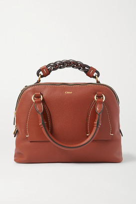 Chloé Daria Medium Textured And Smooth Leather Tote - Brown