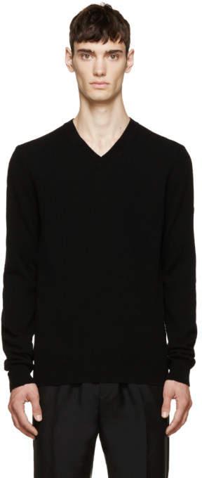 Comme des Garcons Black Wool V-Neck Logo Sweater