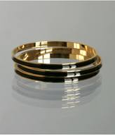 set of 3 - black enamel gold bangles