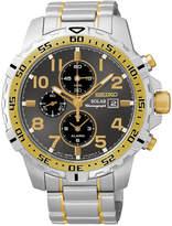 Seiko Men's Solar Alarm Chronograph Two-Tone Stainless Steel Bracelet Watch 45mm SSC304