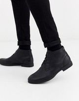 Jack and Jones faux leather desert boots in black