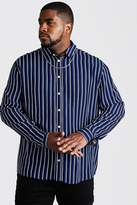 BoohoomanBoohooMAN Mens Navy Big & Tall Long Sleeve Stripe Print Shirt, Navy