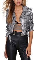Haoduoyi Womens Slim Zipper Motorcycle Biker Leather Crop Jackets(S,)