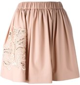 MSGM elastic waistband embroidered skirt
