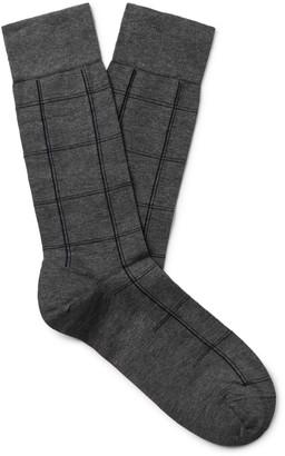 Marcoliani Milano Windowpane Checked Pima Cotton-Blend Socks