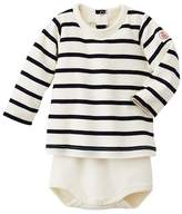 Petit Bateau Baby striped long-sleeved T-shirt bodysuit