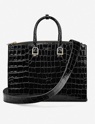 Aspinal of London Madison crocodile-embossed leather shoulder bag