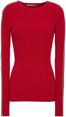 Autumn Cashmere Striped Ribbed-knit Sweater