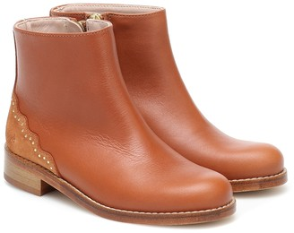 Chloé Kids Studded leather ankle boots