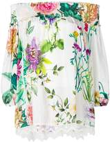 P.A.R.O.S.H. floral print off the shoulder blouse