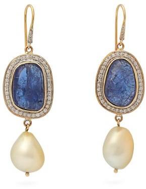 Jade Jagger Diamond, Tanzanite & 18kt Gold Earrings - Blue