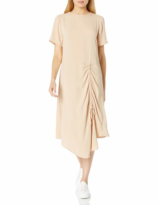 The Drop Women's Georgina Short Sleeve Ruched Front Matte Satin Midi Dress