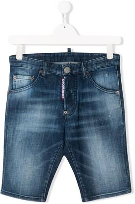 DSQUARED2 TEEN faded denim shorts