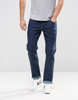 Asos Stretch Straight Jeans In Raw Blue
