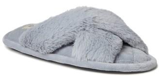 Dearfoams Women's Jessica Faux Fur Slide Slippers