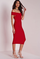 Missguided Crepe Bardot Midi Dress Red